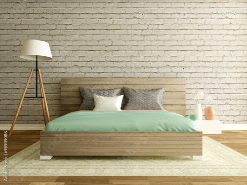 Photo  modern bedroom interior with brick wall