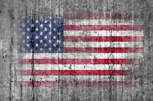 USA Flag Painted On Background Texture Gray Concrete