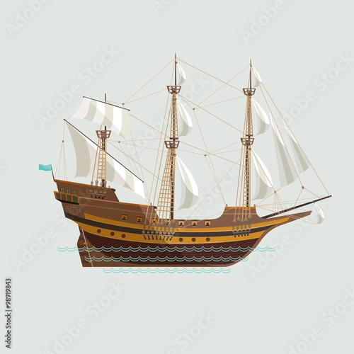 In de dag Schip Old sailing ship. Flat design.