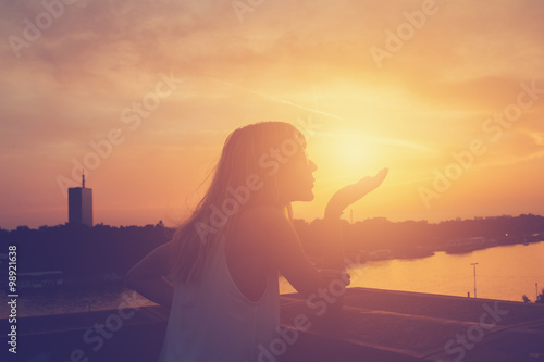 Foto op Plexiglas Crimson Sensual girl in sunset/sunrise.