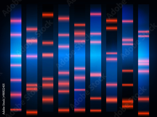 Valokuvatapetti colourful medical dna results with black background