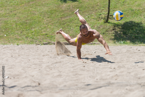 Photo  Male Beach Volleyball Game Player Jump On Sand