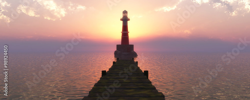 Stickers pour porte Phare lighthouse on the coast