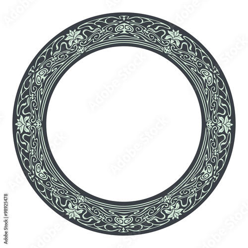 Art nouveau style round frame Wall mural