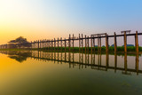 Sunrise at U bein bridge, wooden teak bridge, Amarapura, Mandala
