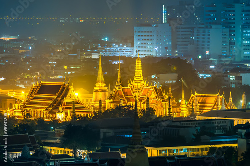 Grand palace (Wat Phra Kaew) at twilight in Bangkok, Thailand Poster