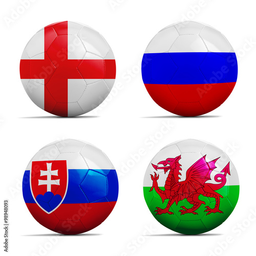 Soccer balls with group B team flags, Football Euro 2016. Poster