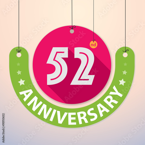 фотография  52nd Anniversary - Colorful Badge, Paper cut-out