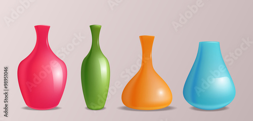 Set Of Vector Realistic Colorful Vases For Design