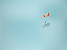 Beautiful Graphic Design Of Man Floating In Transparent Sea