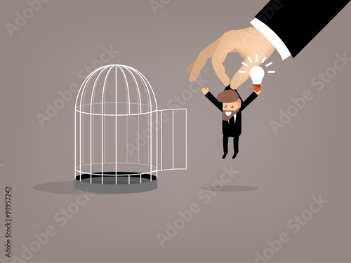 Photo  graphic design of business man escaped from birdcage by good idea, beautiful gra