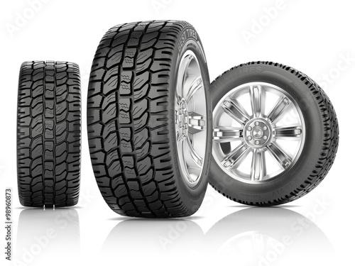 Fotografiet  Tires on white background