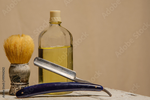 sharp straight razor, brush and cologne aftershave Canvas Print