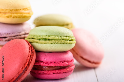 Deurstickers Macarons French Macaroons On White Boards Background