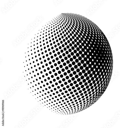 Fotografía  halftone globe, sphere vector logo symbol, icon, design