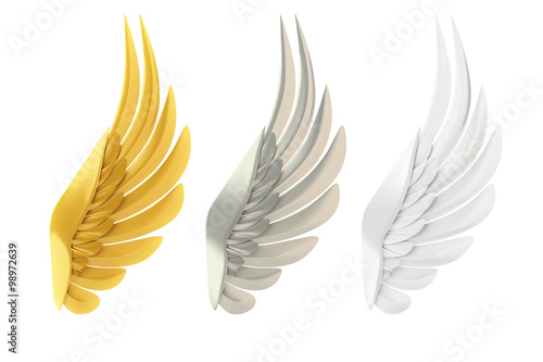 Fényképezés  Golden, silver and white wings, isolated on white background.