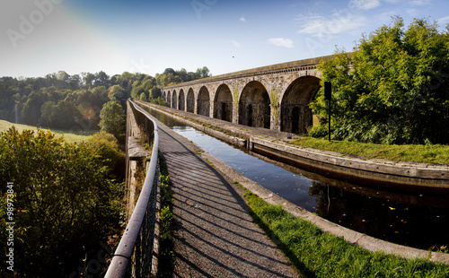 Chirk Aqueduct, views of canal boat and the railway and canal bridges Canvas Print