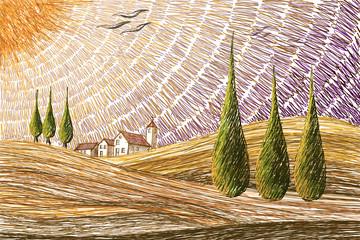 Panel Szklany Podświetlane Toskania Tuscany landscape - digital painting concept