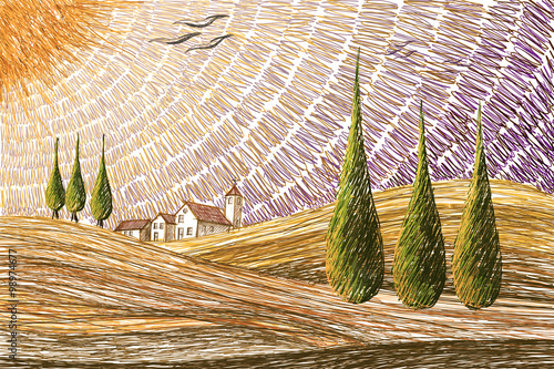 Tuscany landscape - digital painting concept - 98974677