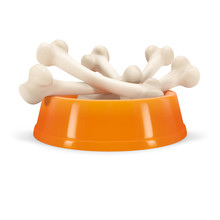 Orange Bowl With Bones For Dog, Isolated On White Background