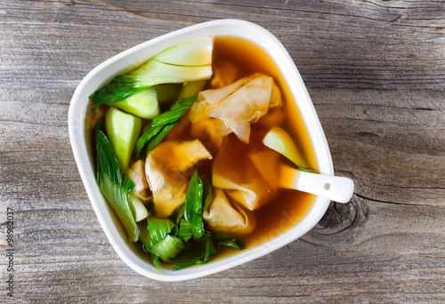 Fotografering Chinese wanton and vegetable soup ready to eat