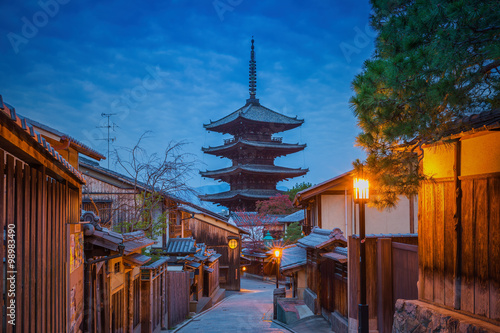 Poster Kyoto Yasaka Pagoda and Sannen Zaka Street in the Morning, Gion, Kyoto