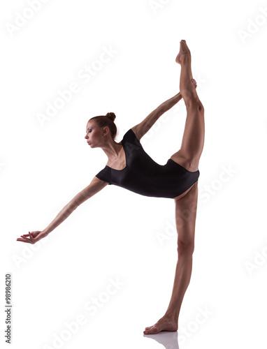 Gimnastyki kobieta pozuje nad białym odosobnionym tłem Obraz na płótnie