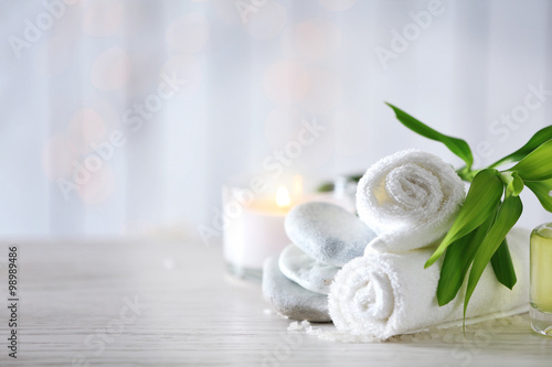 Poster Spa Beautiful composition of spa treatment on wooden table