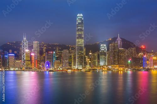 Spoed Foto op Canvas Asia land Hong Kong city waterfront at night