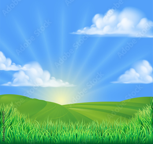 Foto  Rolling Hills Field Sun Background