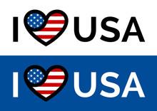 I Love USA Sticker Slogan Vect...