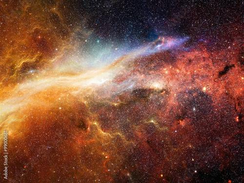 Photo  Universe filled with stars, nebula and galaxy
