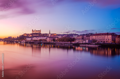 Bratislava at twilight panorama Canvas Print