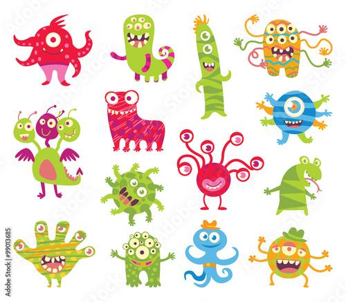 Deurstickers Set of funny little monsters