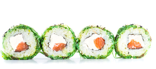 Fototapetaclose-up of traditional fresh japanese seafood sushi rolls on a
