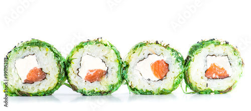 close-up of traditional fresh japanese seafood sushi rolls on a - 99015281
