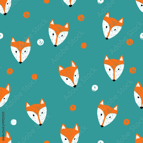 Cotton fabric Fox seamless pattern. Doodle background.