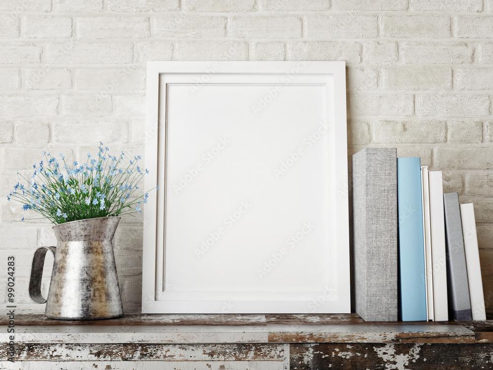 Fototapety, obrazy: 3D rendering of frame, hipster concept