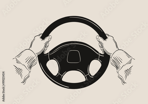 Photo driver holding car steering wheel. vector graphic