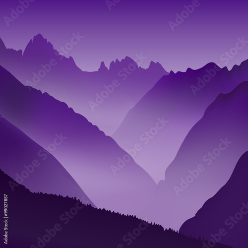Spoed Foto op Canvas Violet Lifeless landscape with huge mountains. Vector panorama in violet tones.