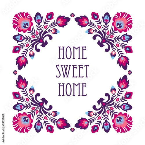 Home sweet home - folk decoration Canvas Print