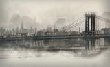 Vintage style monochromatic panorama of New York - 99043242