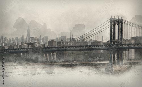 Photo  Vintage style monochromatic panorama of New York