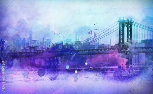 Painterly View of NYC Manhattan Bridge and River