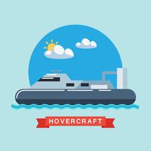 Hovercraft Flat Vector Illustr...