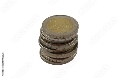 Ein Stapel 2 Euro Münzen Kaufen Sie Dieses Foto Und Finden Sie