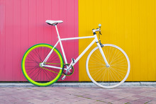 City Bicycle Fixed Gear On Yel...