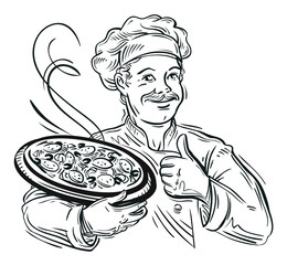 Obraz na SzkleIllustration of an italian cartoon chef with a freshly baked pizza