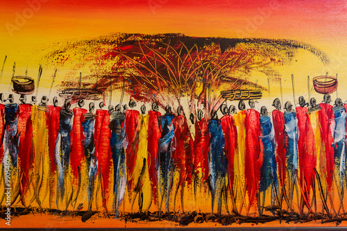 Typical Kenyan painting for tourists
