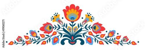 obraz PCV Polish folk papercut style flowers